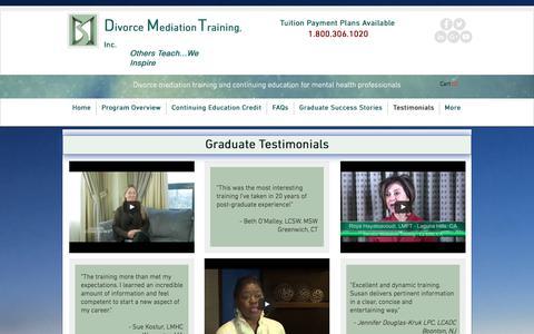 Screenshot of Testimonials Page divorcemediationtraining.com - divorce mediation training testimonials - captured Aug. 18, 2017