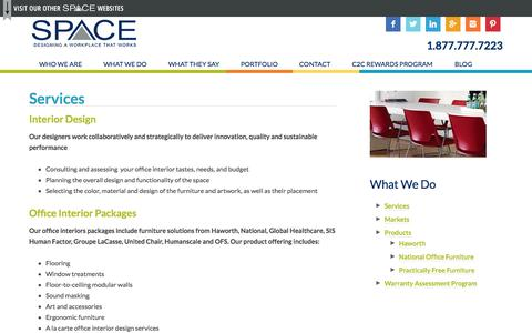 Screenshot of Services Page spaceinc.net - Office Interior Design services, including furniture packages and installation. | SpaceInc. - captured Sept. 30, 2014