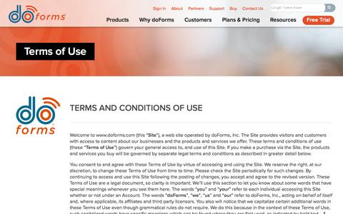 Screenshot of Terms Page doforms.com - Terms and Conditions of Use | doForms - captured Dec. 4, 2015