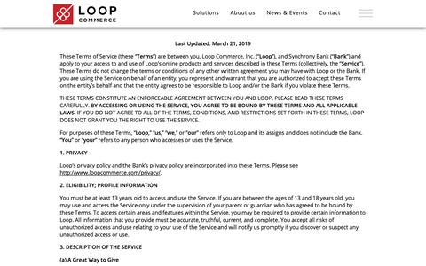 Screenshot of Terms Page loopcommerce.com - Loop Commerce - Terms of Use - captured May 1, 2019