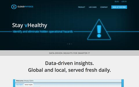 Screenshot of Home Page cloudphysics.com - CloudPhysics - Predictive analytics for virtual datacenters - captured Sept. 13, 2014