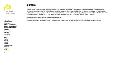 Screenshot of Jobs Page rowellbrokaw.com - Careers — ROWELL BROKAW - captured Nov. 19, 2018