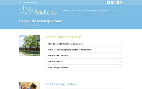 Screenshot of FAQ Page adelbrook.org - Frequently Asked Questions - Welcome to Ädelbrook - captured Oct. 3, 2018