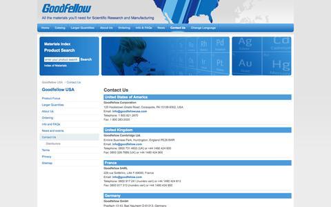 Screenshot of Contact Page goodfellowusa.com - Offices - Contact Us - GoodfellowUSA - captured Oct. 3, 2014