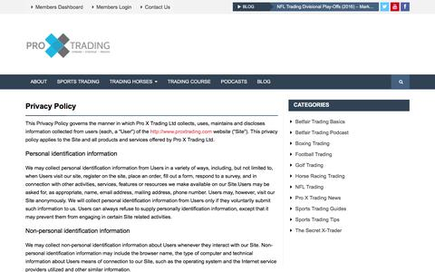 Screenshot of Privacy Page proxtrading.com - Privacy Policy – Pro X Trading – Home to over 50 Proven Betfair Trading strategies - captured Jan. 31, 2016