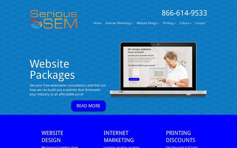 Screenshot of Home Page serioussem.com - Get Serious about the Web with a Custom Designed Website from Serious SEM - captured Jan. 26, 2015