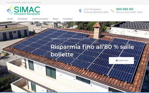 Screenshot of Home Page simacsolar.eu - Simac Solar – Risparmio Energetico Garantito o Paghiamo la Differenza! - captured Oct. 19, 2018