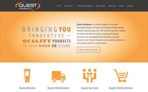 Screenshot of Home Page questproductsinc.com - Home - Quest Products, Inc. - captured July 17, 2016