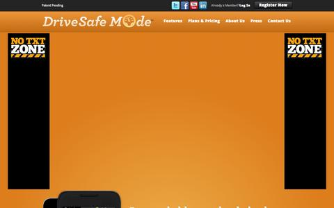 Screenshot of Home Page drivesafemode.com - Drive Safe Mode - Prevent Calls and Driving While Texting - captured Sept. 30, 2014
