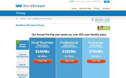 Screenshot of Pricing Page wordstream.com - WordStream PPC Advisor Pricing   WordStream - captured Sept. 17, 2014