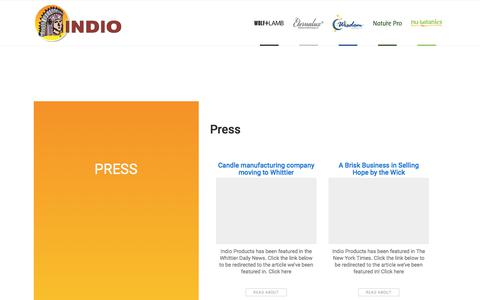 Screenshot of Press Page indioproducts.com - Press – Indio - captured Oct. 15, 2017