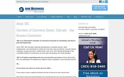 Screenshot of About Page onebusiness.com - Chambers Of Commerce Denver, CO | Referral Groups - captured Oct. 20, 2017
