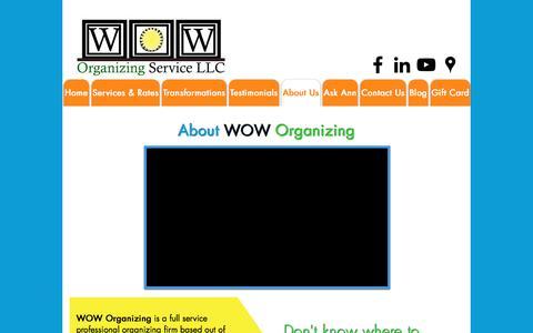Screenshot of About Page woworganizing.com - Professional Organizer| Virginia, North Carolina, Tennessee - captured Dec. 3, 2016