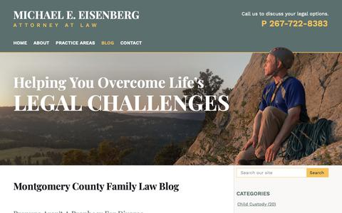 Screenshot of Blog meelawoffice.com - Montgomery County Family Law Blog | Michael E. Eisenberg, Attorney at Law - captured Nov. 15, 2018