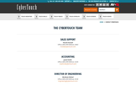 Screenshot of Team Page cybertouch.com - Contact CyberTouch - captured Sept. 26, 2014