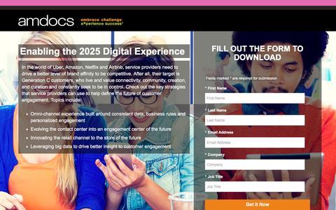 Screenshot of Landing Page amdocs.com - Amdocs Digital Experience - Enabling the 2025 Digital Experience Whitepaper - captured Nov. 6, 2016