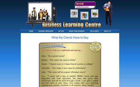 Screenshot of Testimonials Page businesslearning.com.au - Testimonials | Business Learning - captured Oct. 5, 2014