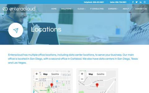 Screenshot of Locations Page enteracloud.com - Locations - Carlsbad, Oceanside, Encinitas | Enteracloud - captured Dec. 8, 2018