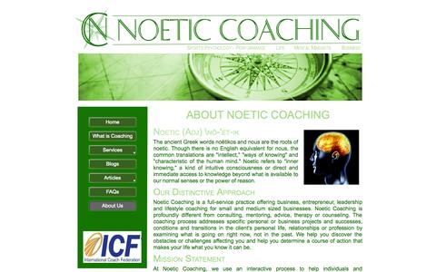 Screenshot of About Page noeticcoaching.net - About Us - captured Oct. 26, 2014