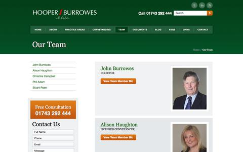 Screenshot of Team Page hblegal.co.uk - Our Team at Hooper Burrowes Legal in Shrewsbury - captured Nov. 21, 2017