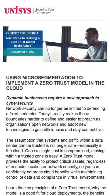 MICROSEGMENTATION TO IMPLEMENT A ZERO TRUST MODEL IN THE CLOUD