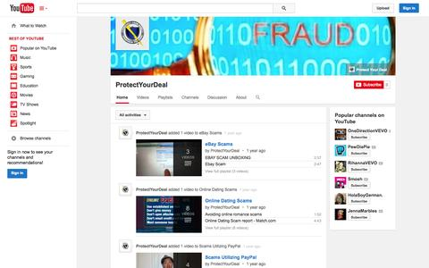Screenshot of YouTube Page youtube.com - ProtectYourDeal  - YouTube - captured Oct. 22, 2014