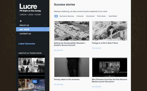 Screenshot of Case Studies Page lucre.co.uk - Success stories | Lucre – PR that's on the money - captured Sept. 30, 2014