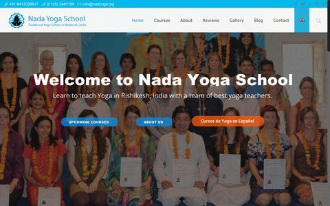 Screenshot of Home Page nadyoga.org - Yoga, Meditation, Nada Yoga Teacher Training in India - Rishikesh - captured Nov. 15, 2017