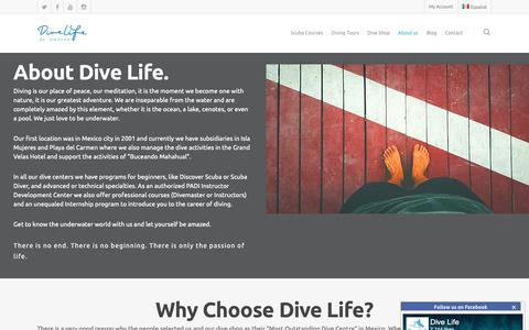 Screenshot of About Page divelife.mx - About Dive Life - Mexico PADI 5 Star Instrcutor Development Center since 2001 - captured Oct. 9, 2018