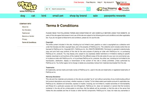 Screenshot of Terms Page petonly.ca - Terms & Conditions - captured Sept. 25, 2018