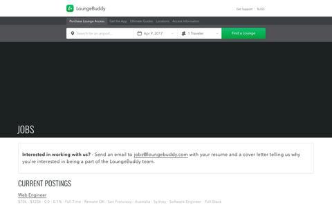 Screenshot of Jobs Page loungebuddy.com - Jobs | LoungeBuddy - captured April 9, 2017
