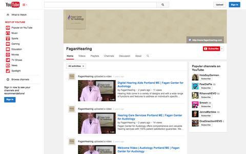 Screenshot of YouTube Page youtube.com - FaganHearing  - YouTube - captured Oct. 23, 2014