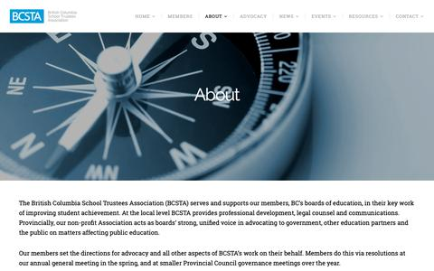 Screenshot of About Page bcsta.org - About - British Columbia School Trustees Association - captured Oct. 4, 2018