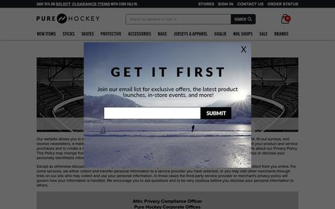 Screenshot of Privacy Page Terms Page purehockey.com - Our Policies | Pure Hockey - captured Oct. 30, 2018