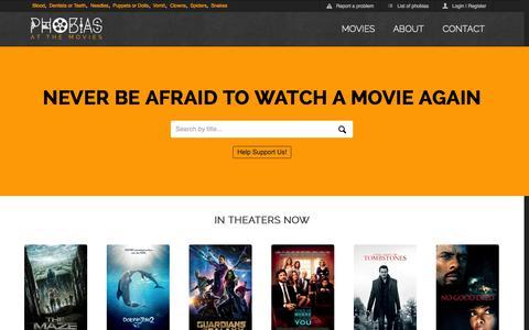 Screenshot of Home Page phobiasatthemovies.com - Phobias At The Movies - captured Sept. 29, 2014