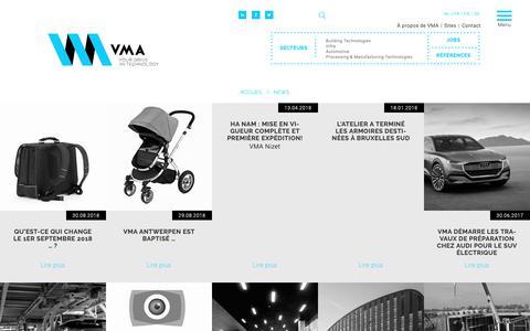 Screenshot of Press Page vma.be - News   VMA - captured Oct. 20, 2018