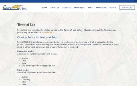 Screenshot of Terms Page enviromineinc.com - Terms of Use — EnviroMINE, Inc. - captured July 14, 2016