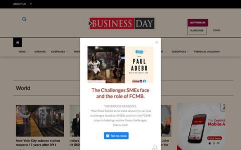 Screenshot of Press Page businessdayonline.com - BusinessDay Media - Online | Print | TV | Podcast. - captured Sept. 21, 2018