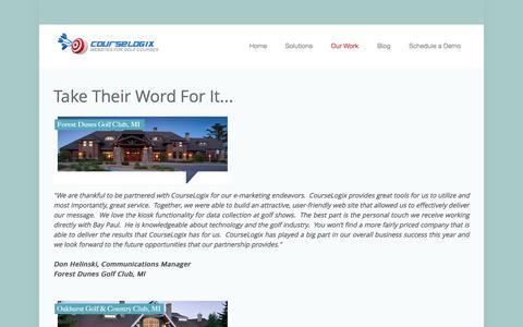 Screenshot of Testimonials Page course-logix.com - Client Success Stories - captured Oct. 28, 2014