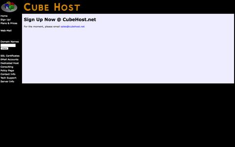 Screenshot of Signup Page cubehost.net - Sign Up NoW @ CubeHost.net - captured Oct. 3, 2014