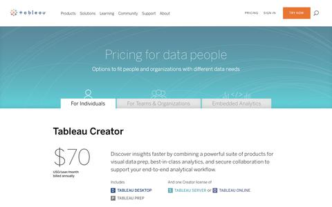 Screenshot of Pricing Page tableau.com - Tableau Pricing for Individuals and Personal Use - captured April 24, 2018