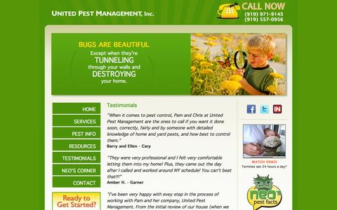 Screenshot of Testimonials Page unitedpestmanagement.com - Testimonials   United Pest Management   Pest Control in Fuquay-Varina and Apex - captured Jan. 10, 2016
