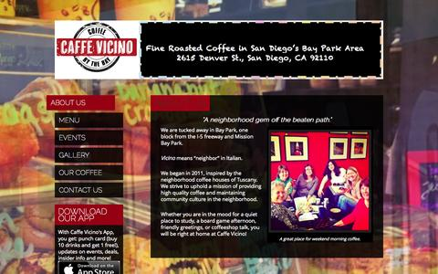 Screenshot of Home Page About Page caffevicino.net - Coffee by the Bay - captured Sept. 26, 2014