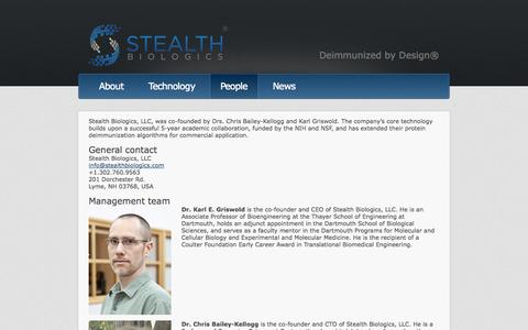 Screenshot of Team Page stealthbiologics.com - Stealth Biologics  | People - captured Oct. 7, 2014