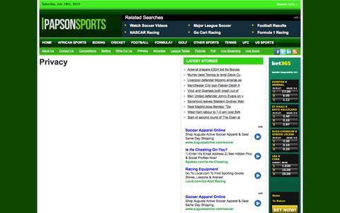 Screenshot of Privacy Page papsonsports.com - Privacy | Papson Sports - captured July 18, 2015