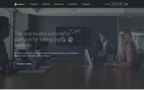 Screenshot of Home Page appdirect.com - The end-to-end commerce platform for selling digital… - AppDirect - captured Feb. 6, 2018