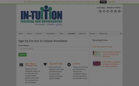 Screenshot of Signup Page in-tuition.ie - In-Tuition Newsletter for In-Tuition - Sign Up | In-Tuition - captured Jan. 20, 2016