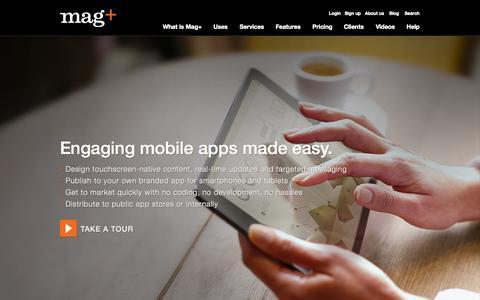 Screenshot of Home Page magplus.com - Digital Publishing App - Digital Magazine Software - App Software - captured Jan. 23, 2015