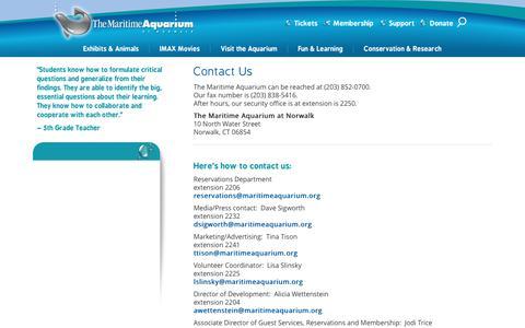 Screenshot of Contact Page maritimeaquarium.org - Contact - captured June 24, 2017