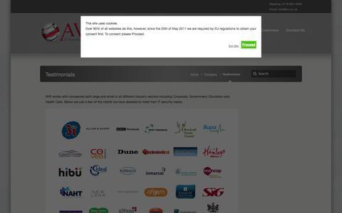 Screenshot of Testimonials Page avr.co.uk - Testimonials - AVR - IT Security Solutions - captured Oct. 4, 2014